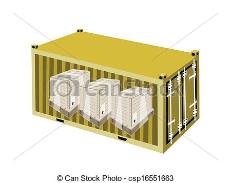 Clip Art Vector of Shipping Boxes with Plastic Wrap in Cargo.