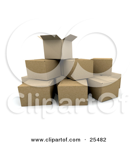 Clipart Illustration of an Opened Box Sticking Out Of Rows Of.