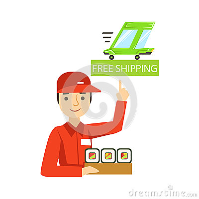 Delivery Service Worker In Red Uniform Holding A Portion Of Sushi.
