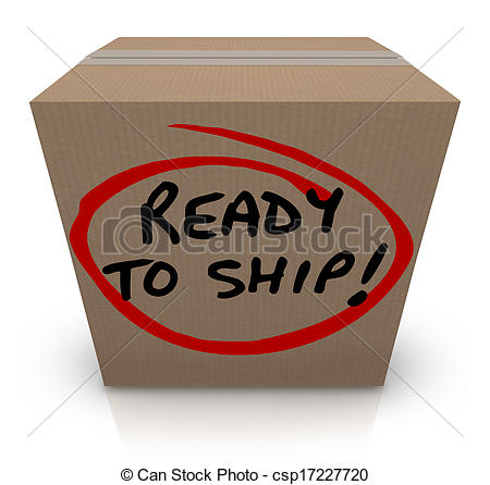Clip Art of Ready to Ship Cardboard Box Mailing Package Order In.