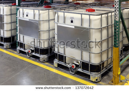 Bulk Fluid Shipping Containers On Pallets Stock Photo 137072642.
