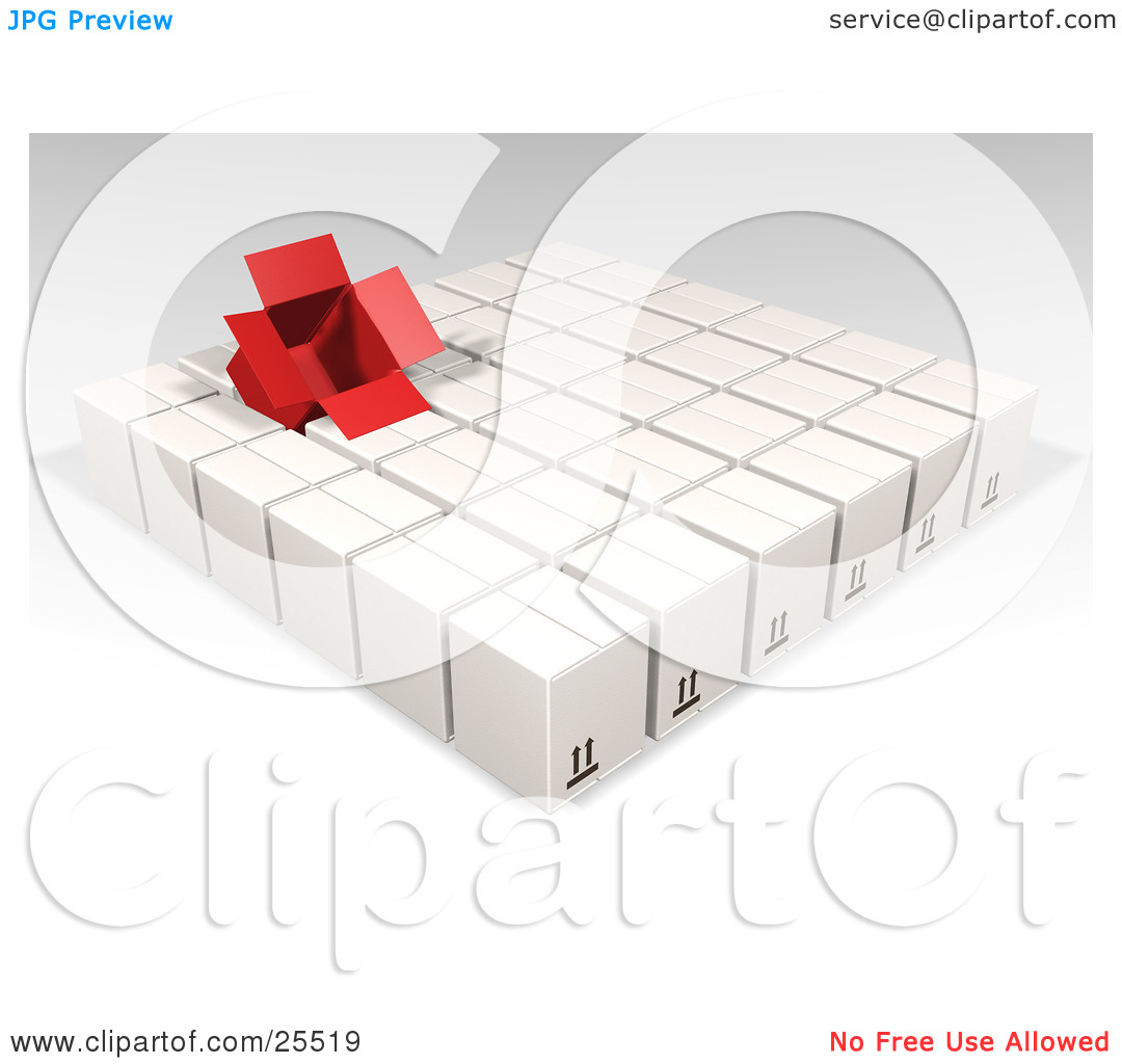 Clipart Illustration of an Opened Red Box Sticking Out Of Rows Of.