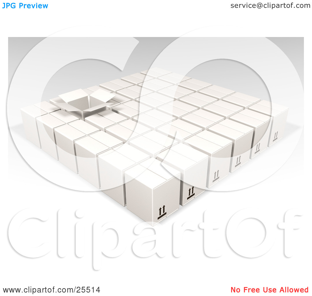 Clipart Illustration of One Opened Box In Rows Of Sealed White.