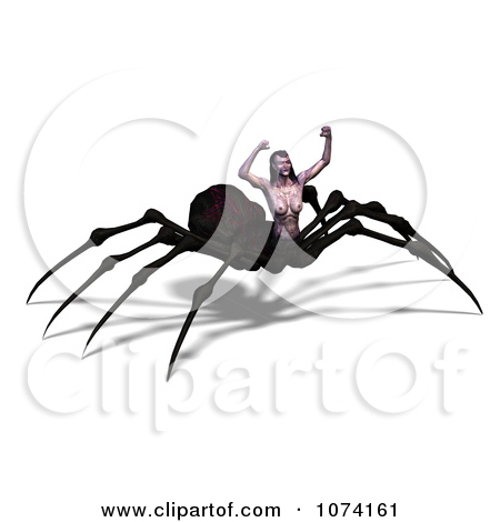 Clipart 3d Evil Spider Woman Ready To Attack.