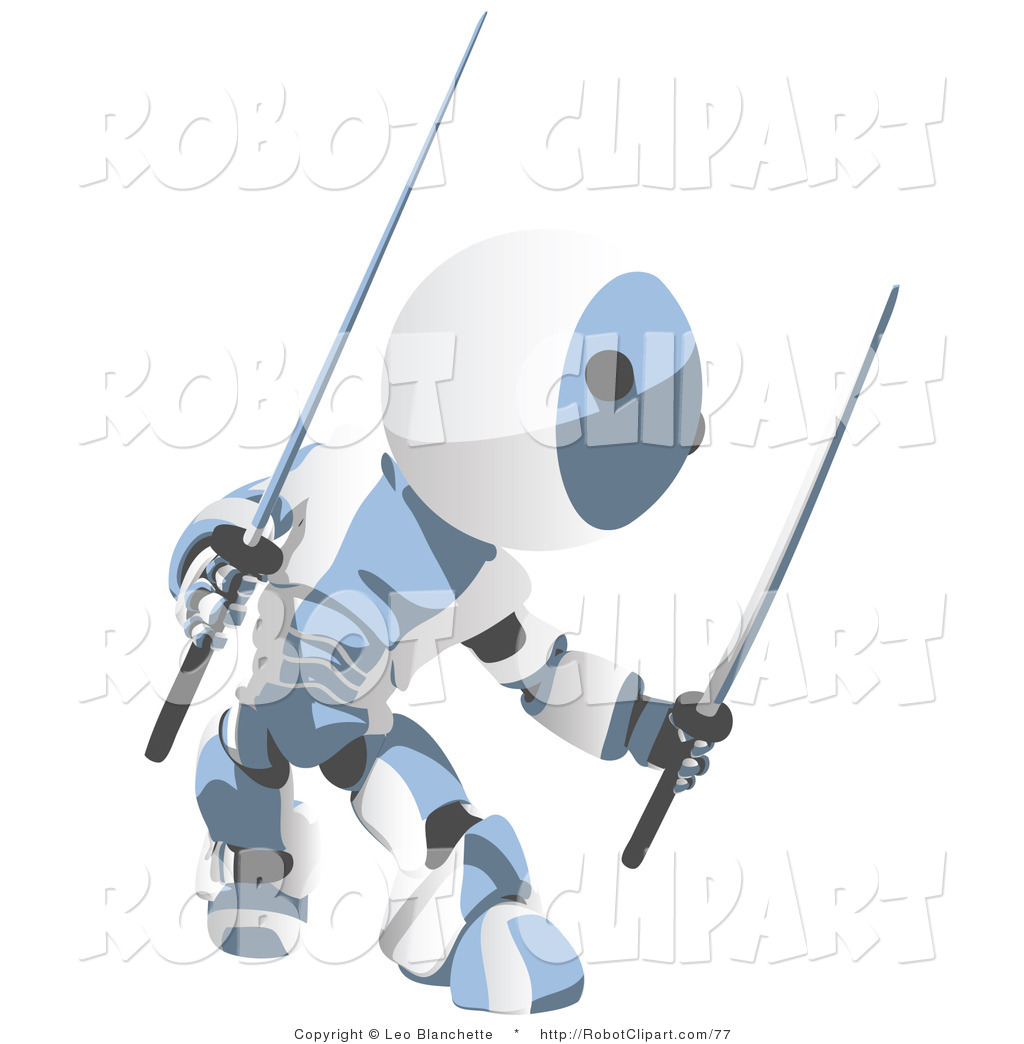 Clipart of a Blue Metal Robot Ninja with Two Swords, Ready to.