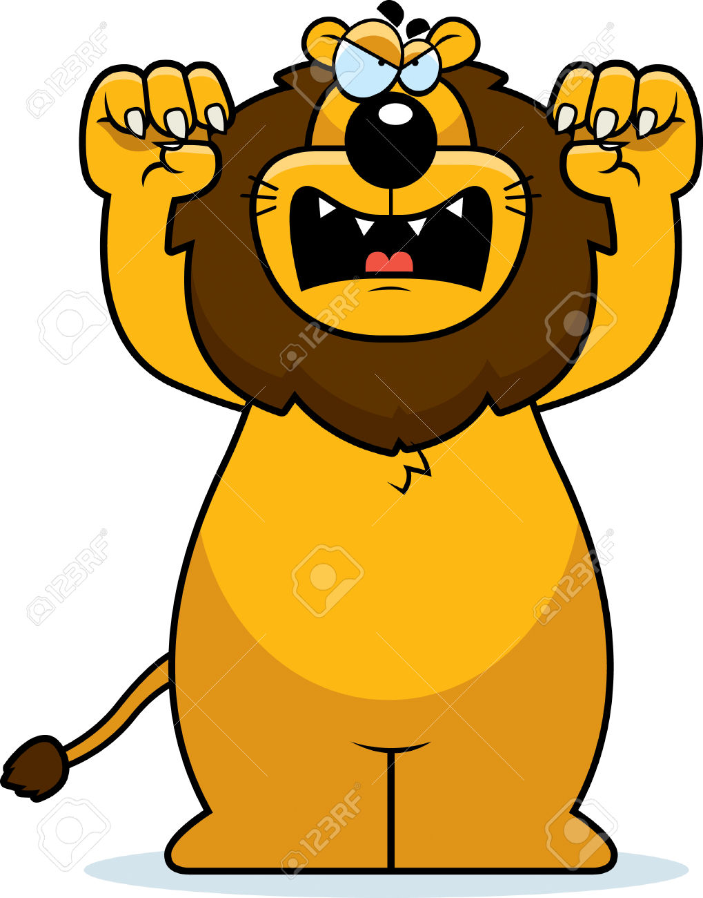 A Cartoon Lion With Claws Out Ready To Attack. Royalty Free.