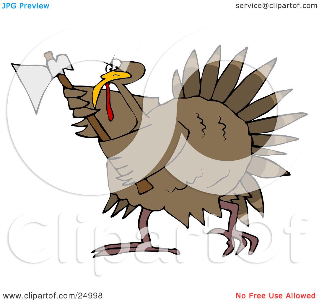 Clipart Illustration of a Pissed Thanksgiving Turkey Bird Running.