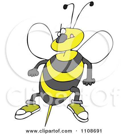 Clipart Angry Bee Ready To Attack With A Stinger.