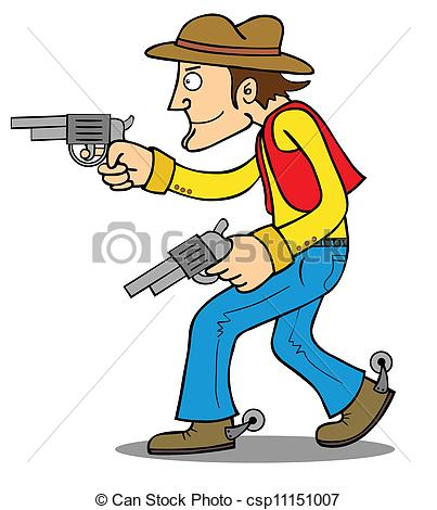 Vector Clipart of Cowboy ready to attack.