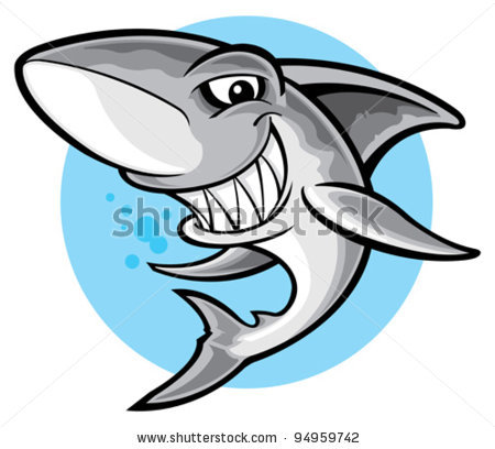 of a shark ready to attack in a vector clip art illustration.
