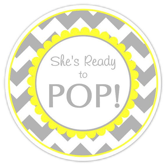 Baby Shower Ready to Pop labels, Gray Chevron and Yellow.
