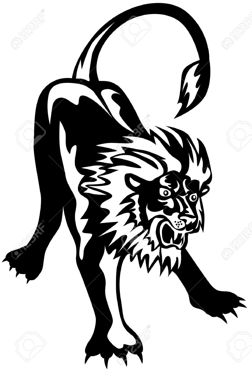 LIon Ready To Pounce Royalty Free Cliparts, Vectors, And Stock.