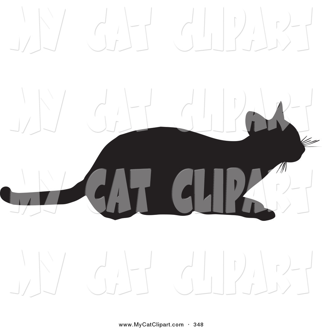Clip Art of a Frisky Cat Silhouetted in Black, Ready to Pounce to.