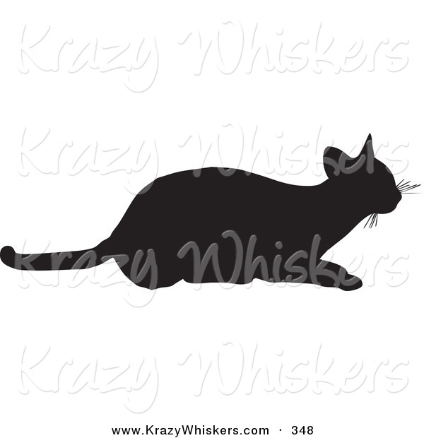 Critter Clipart of a Frisky Cat Silhouetted in Black, Ready to.