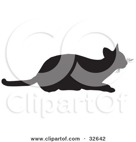Clipart Illustration of a Frisky Cat Silhouetted In Black, Ready.