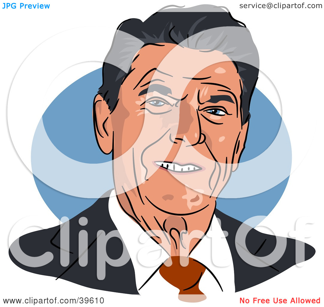 Clipart Illustration of American President Ronald Reagan by Prawny.
