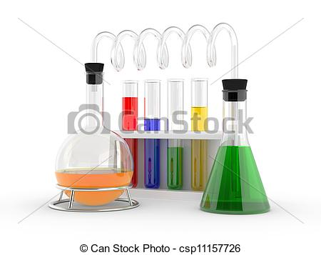 Clip Art of chemical flasks with reagents.