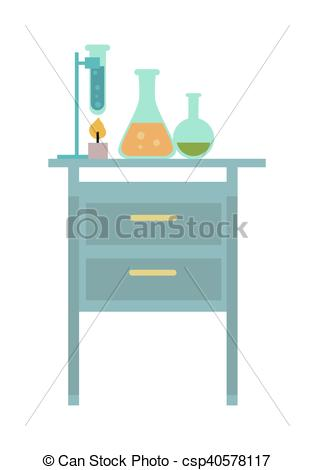 Vector Clip Art of Table with Chemical Reagents.
