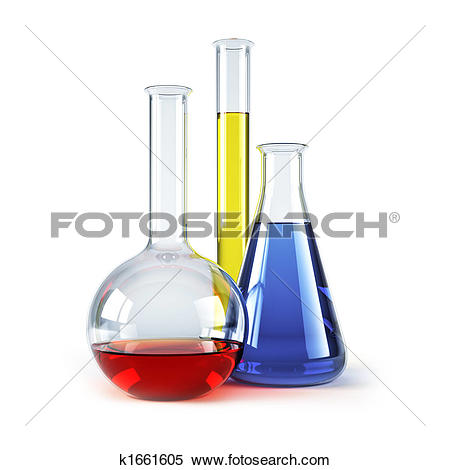 Stock Illustration of chemical flasks with reagents k1661605.