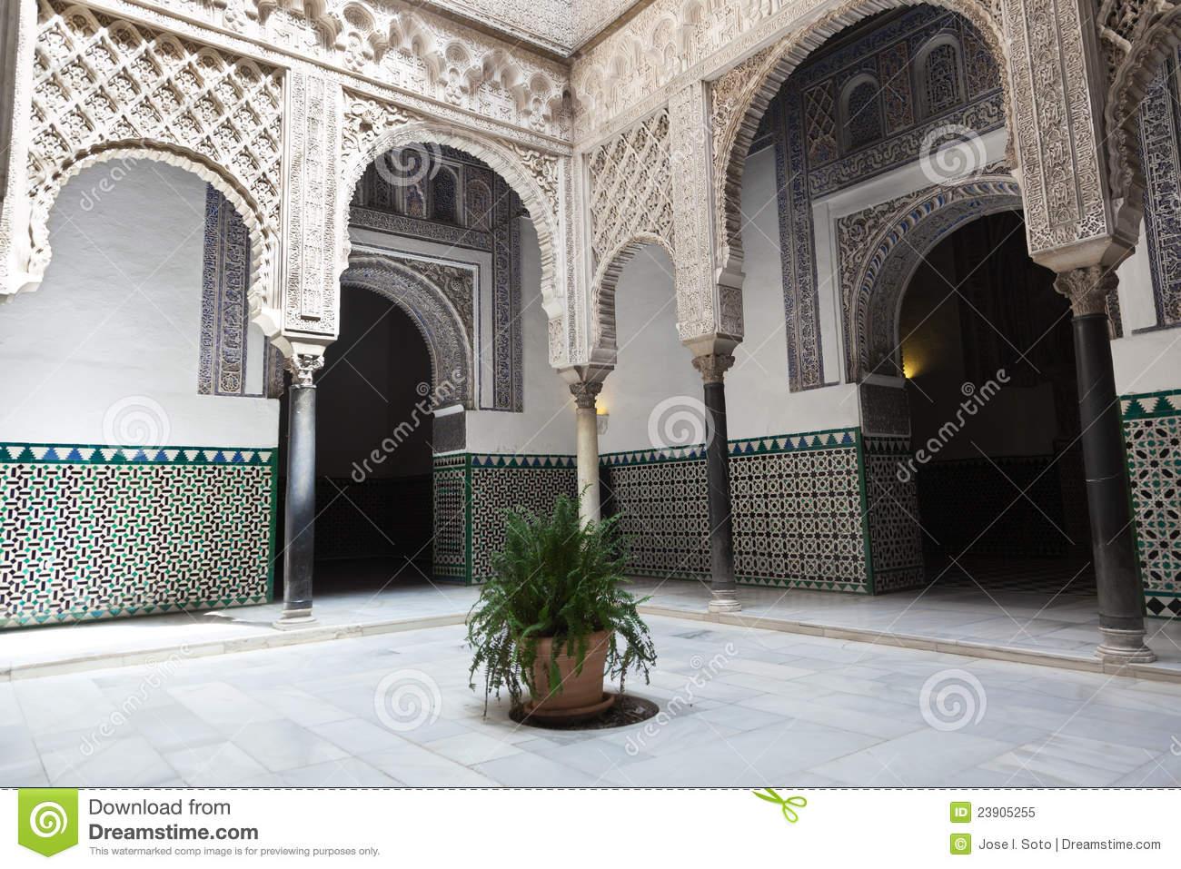 Patio De Las Munecas En El Real Alcazar De Sevilla Royalty Free.