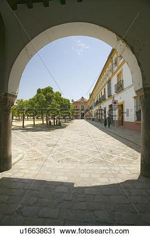 Stock Photography of Archway door near Real Alcazar, the Royal.