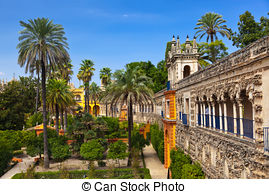 Stock Photos of Real Alcazar Gardens in Seville Spain.