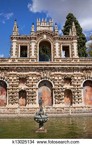 Stock Photo of Grotesque Gallery in Real Alcazar of Seville.