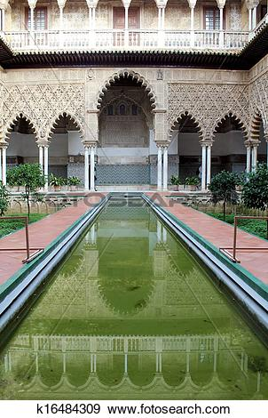 Stock Photograph of Water feature at the Real Alcazar Moorish.