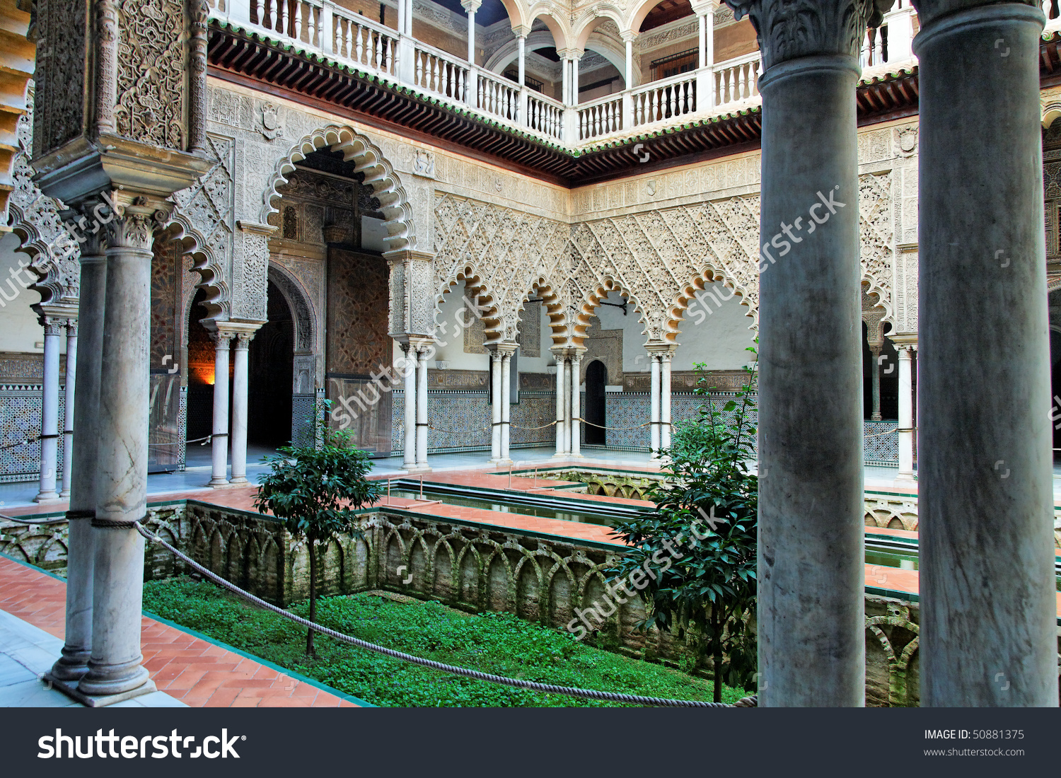 Seville, Real Alcazar Patio Stock Photo 50881375 : Shutterstock.