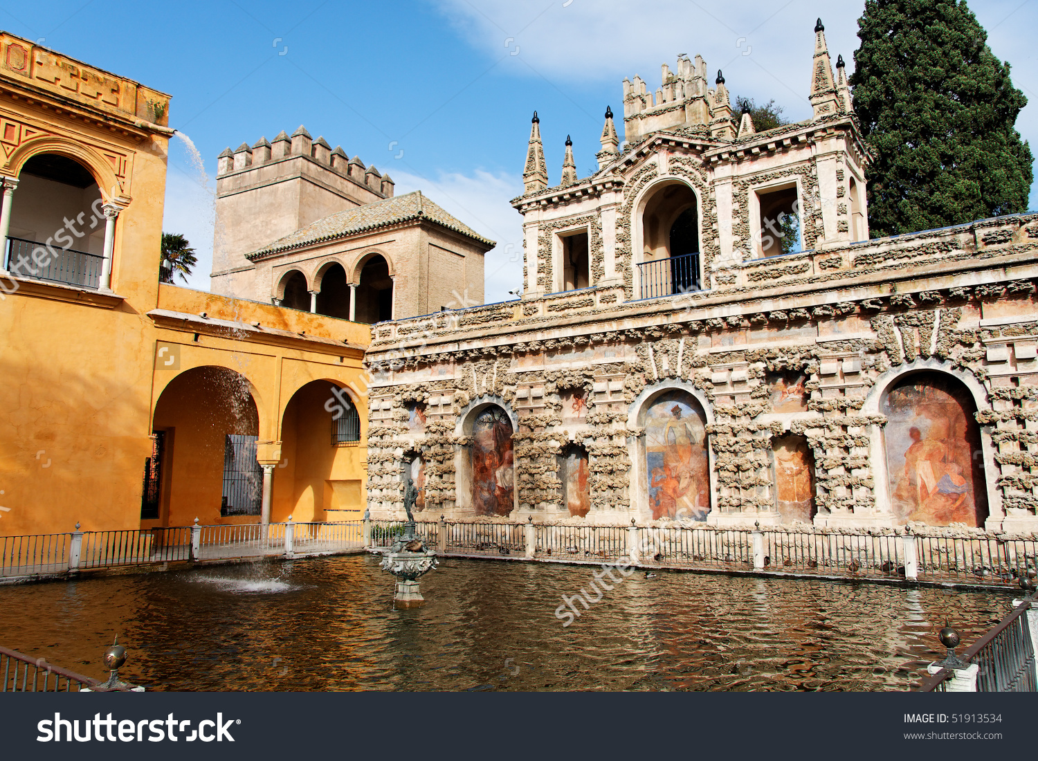Seville, Real Alcazar Gardens' Main Pool Stock Photo 51913534.