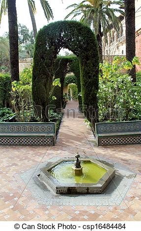 Pictures of Water feature at the Real Alcazar Moorish Palace in.