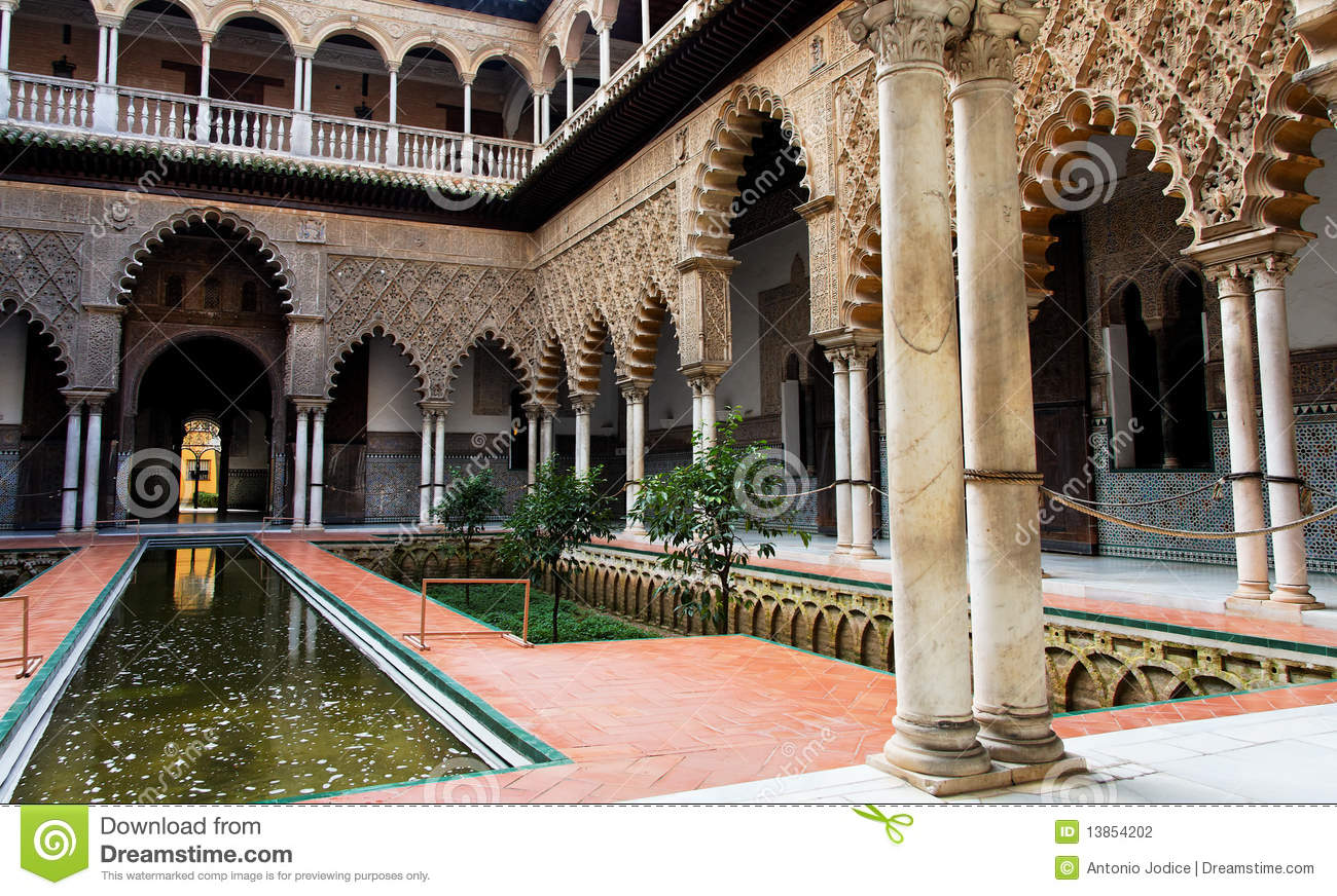 Seville, Real Alcazar Palace Inner Patio Stock Photography.
