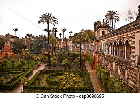 Stock Images of Gardens of Alcazar, Seville, Spain.