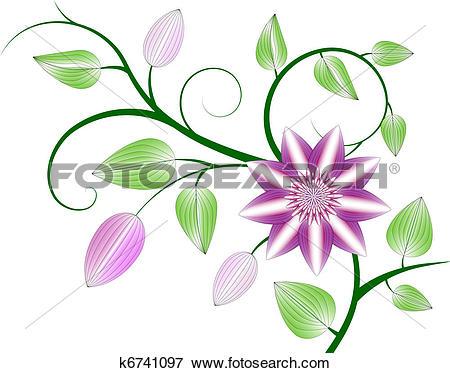 Clip Art of Clematis background k6741097.