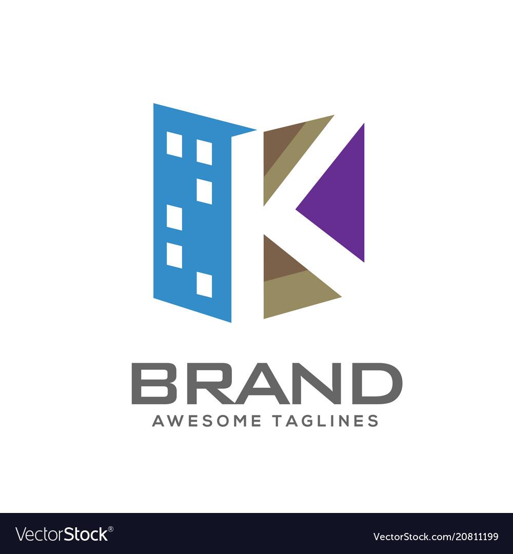 Letter k real estate logo.