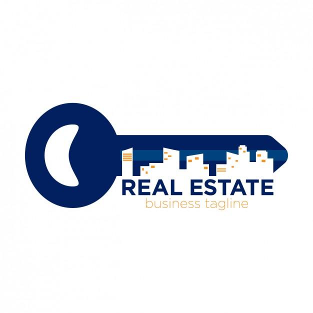 Real estate logo in key form Vector.