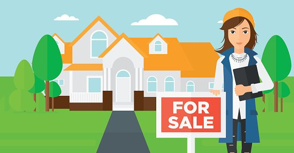 Real estate agent offering house Clipart Image.