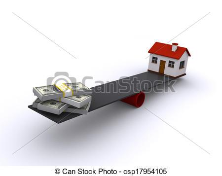 Stock Illustration of real estate financing.