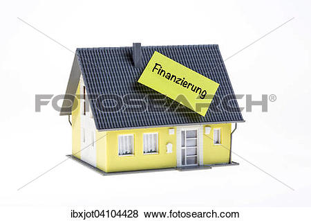 Pictures of Real estate symbol, home financing, German language.