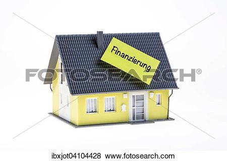 Pictures of Real estate symbol, home financing, German language.