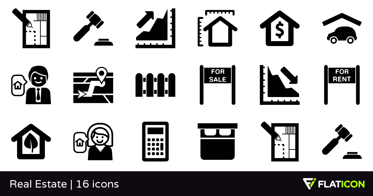 Real Estate 16 free icons (SVG, EPS, PSD, PNG files).