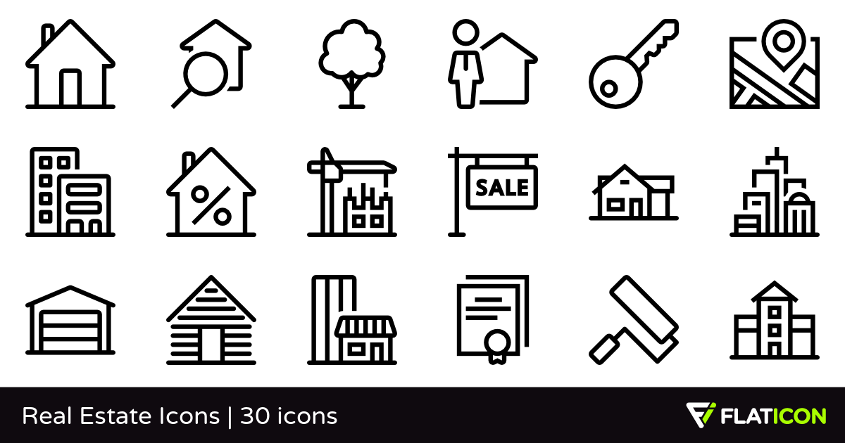 Real Estate Icons 30 free icons (SVG, EPS, PSD, PNG files).