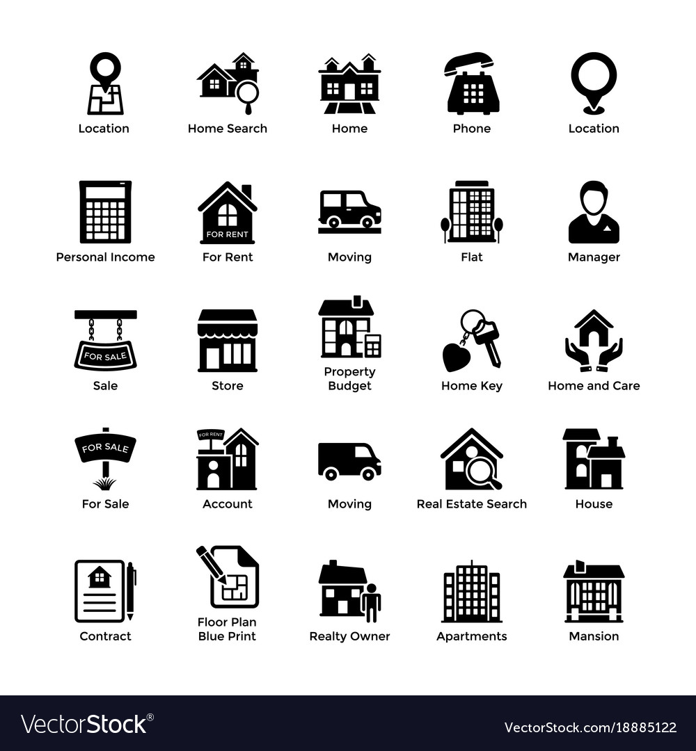 Real estate glyph icons 3.