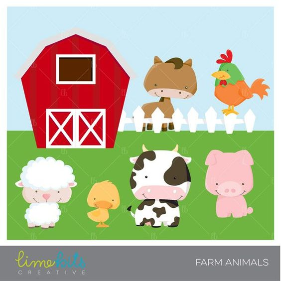 Little Farm Animals Clipart.