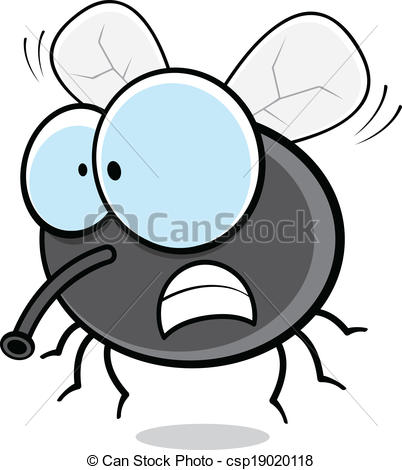 Vector Clip Art of Angry Cartoon Fly.