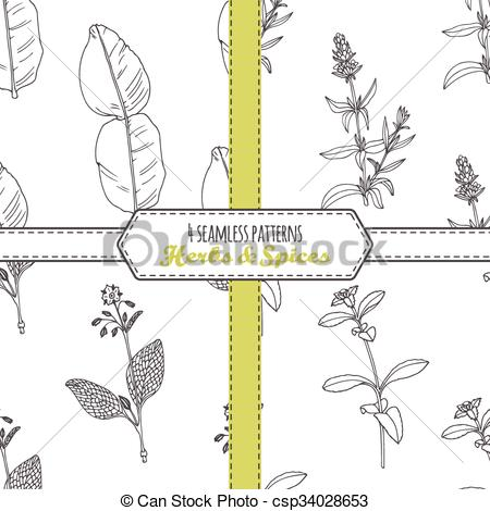 Clipart Vector of Hand drawn seamless patterns collection with.
