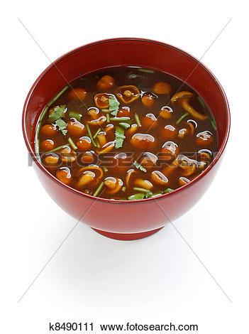 Stock Photography of nameko mushrooms miso soup k8490111.