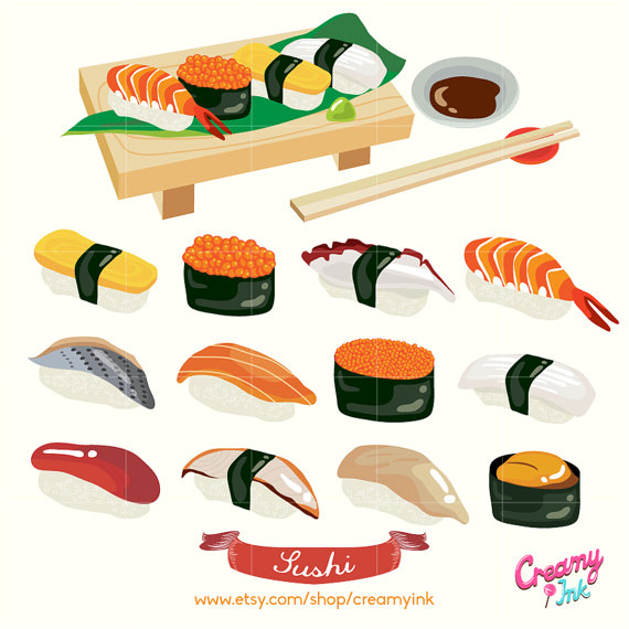 Japanese Sushi Digital Vector Clip art/ Japan Food Digital Clipart.