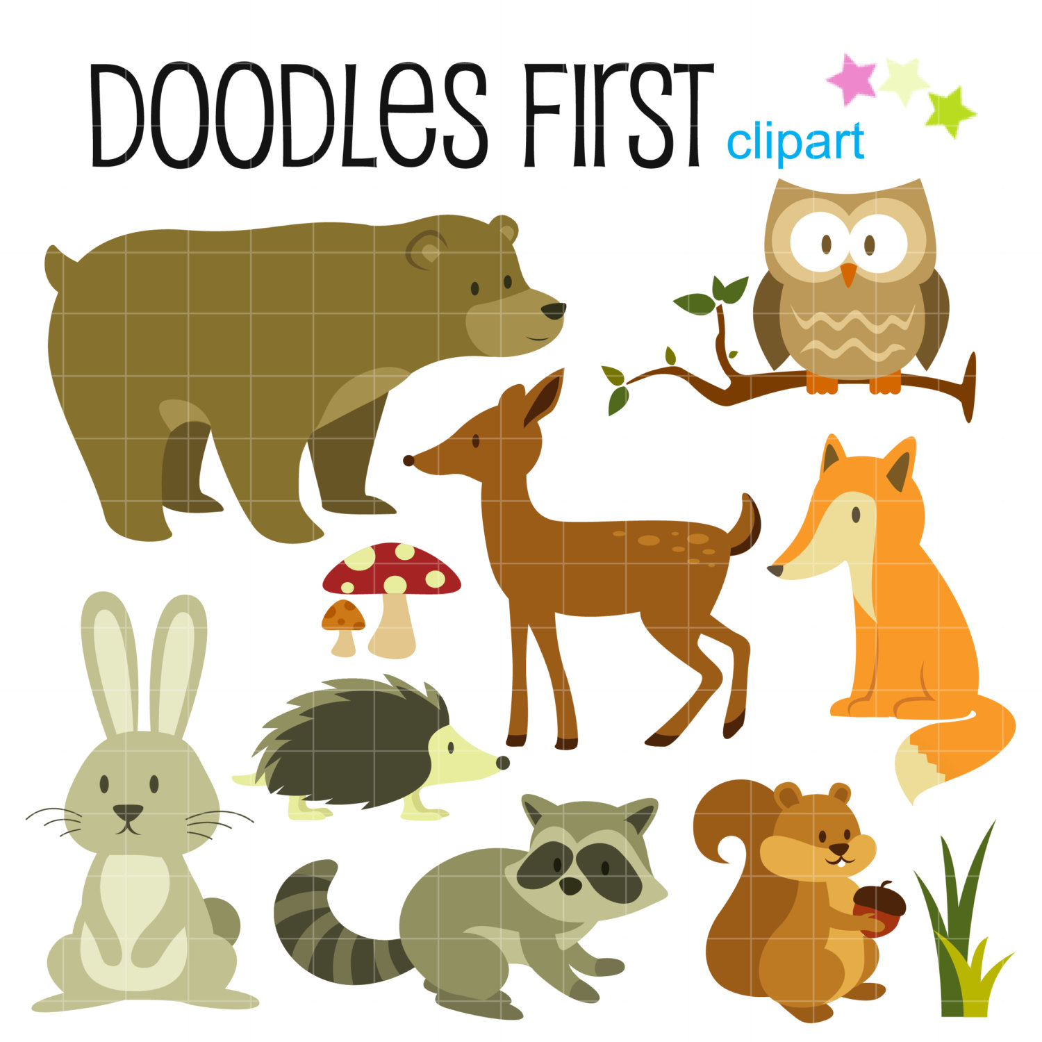 Realistic Woodland Animals Clipart.