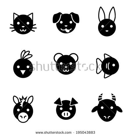 Realistic Animal Face Clipart Black And White.